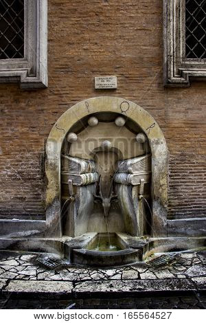 Books Fountain (in italian Fontana dei Libri), Rome, Italy