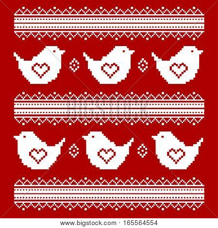 Vector cross stitch embroidery in the Ukrainian style. Valentine s Day. Vector ethnic pattern