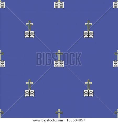 Religion Icons Isolated on Blue Background. Seamless Pattern