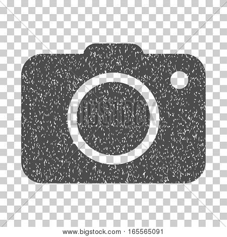 Photo Camera grainy textured icon for overlay watermark stamps. Flat symbol with unclean texture. Dotted vector gray ink rubber seal stamp with grunge design on a white background.