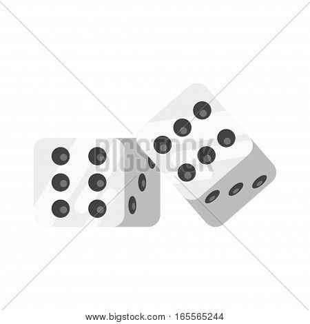 Vector flat style illustration of dice. Isolated on white background. Icon for web.