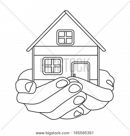 Property donation icon in outline design isolated on white background. Charity and donation symbol stock vector illustration.