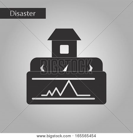 black and white style icon of natural disaster earthquake house