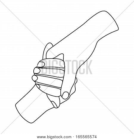 Hands holding icon in outline design isolated on white background. Charity and donation symbol stock vector illustration.