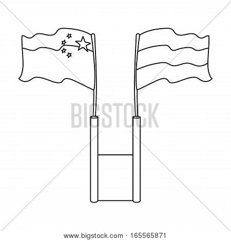 Russia and China flags icon in outline design isolated on white background. Interpreter and translator symbol stock vector illustration.