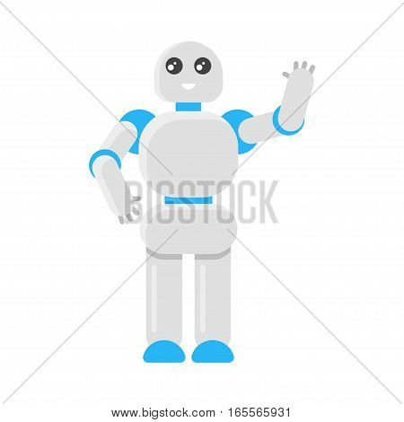 Vector flat style illustration of Japanese robot. Icon for web. Isolated on white background.