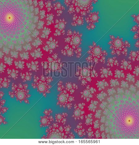 Wonderful purple and green colored mirror two floral design background image
