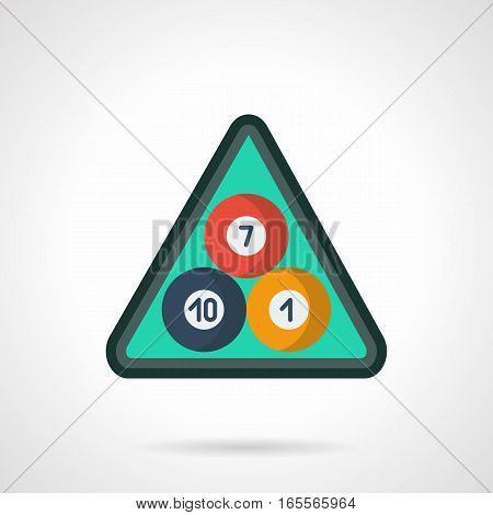 Three american pool balls on green cloth in triangle rack with numbers 10, 7 and 1. Equipment and accessories for billiards game. Flat color style vector icon.