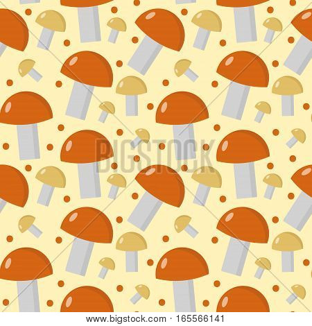 Mushrooms seamless pattern. Boletus edulis endless background, texture. Vegetable background. Vector illustration