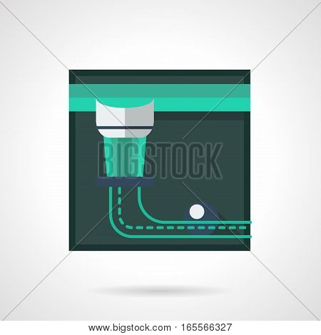 Billiard pocket on a side of table with single blue ball. Poolroom equipment. Sport and activity leisure concept. Stylish square flat design green vector icon with long shadow.