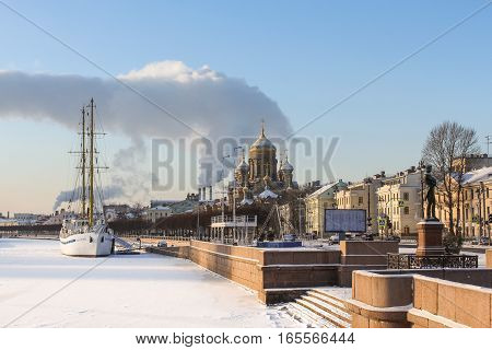 St. Petersburg, Russia - 6 January, Lieutenant Schmidt Embankment, 6 January, 2017. Winter frosty sunny day in St. Petersburg.