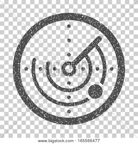 Radar grainy textured icon for overlay watermark stamps. Flat symbol with dirty texture. Dotted vector gray ink rubber seal stamp with grunge design on a white background.