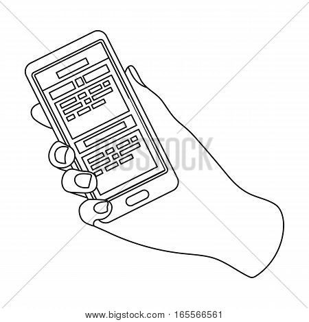Mobile translator icon in outline design isolated on white background. Interpreter and translator symbol stock vector illustration.