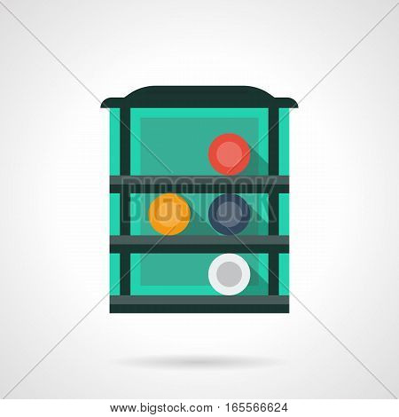 Green shelf with four colorful billiard balls. Poolroom interior equipment, rack for snooker, pool game accessories. Flat color style vector icon.