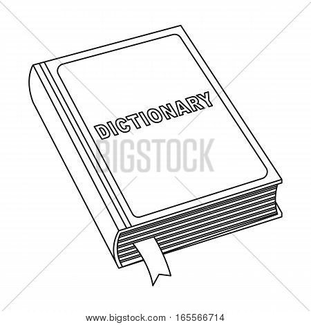 Dictionary icon in outline design isolated on white background. Interpreter and translator symbol stock vector illustration.