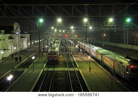 Railway station in Kremenchug Ukraine at night