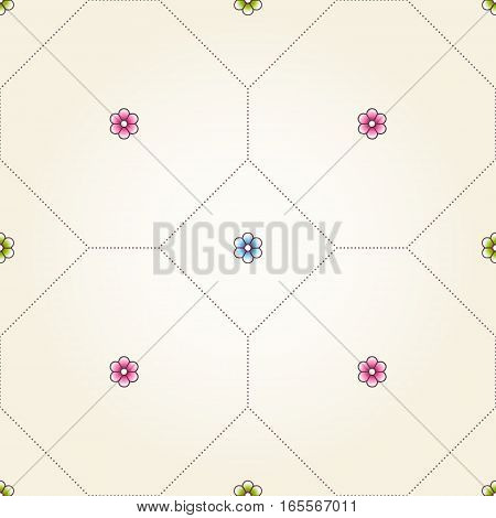 Vector Seamless Pattern With Simple Flowers.