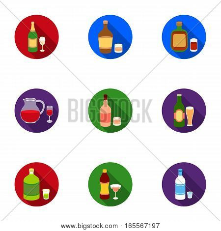 Alcohol set icons in flat style. Big collection of alcohol vector symbol stock