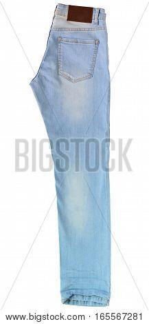 close up light blue jeans on floor background