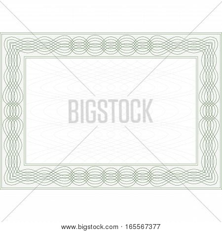 Guilloche Frame for Certificates, or Securities. Vector.