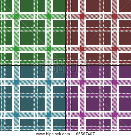 Seamless Pattern Similar to the Scottish Tartan. Four Textures in a Set.