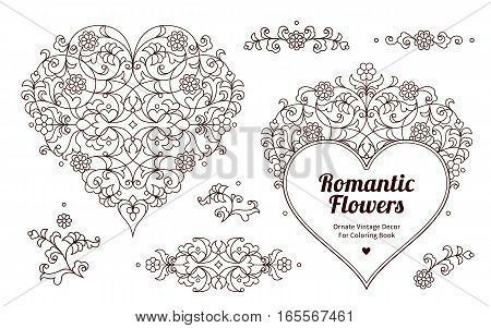 Floral Ornamental Hearts And Vignettes.