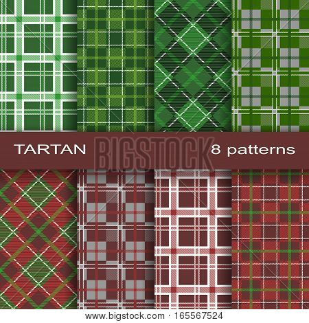 Pattern Similar to the Scottish Tartan. Eight Textures in a Set.