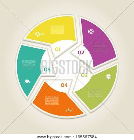 Infographic Template for Business. 5 steps cycling diagram. Process diagram. Progress diagram. Vector infographic.Vector diagram.