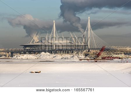St. Petersburg, Russia - 6 January, New St. Petersburg Stadium, Zenith Arena, 6 January, 2017. Winter frosty sunny day in St. Petersburg.