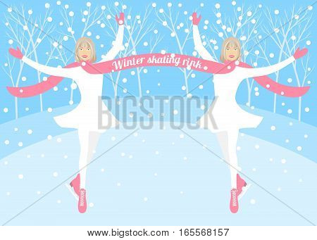 Two girls - skater on winter ice rink