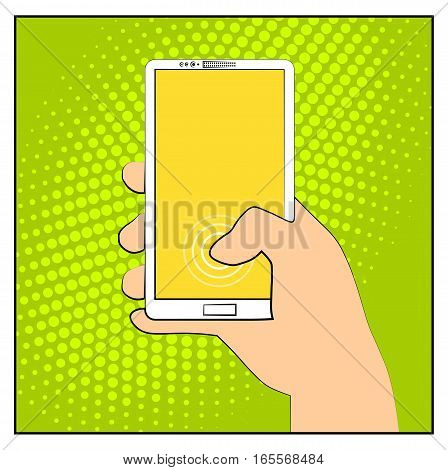 Comic phone with halftone shadows. Hand holding smartphone. Pop art retro style. Flat design. Vector illustration eps 10.