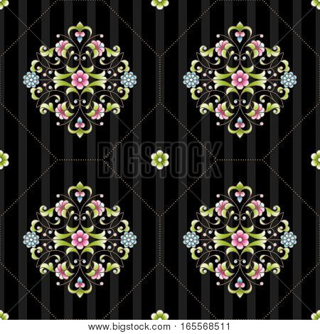 Vector Seamless Pattern With Floral Ornament.
