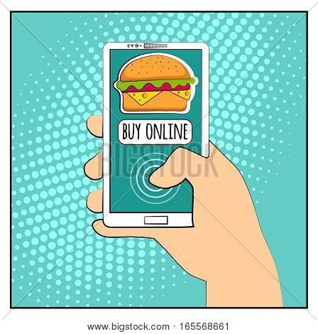 Comic phone with halftone shadows and Hamburger. Hand holding smartphone with buy online internet shopping. Fast food background. Pop art retro style. Flat design. Vector illustration eps 10.