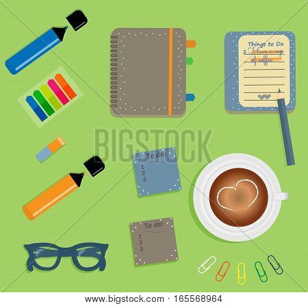 Stationery: Brown day planner spiral-bound with cute polka dots and tabs.Stiсkers. Markers Dark blue glasses.Pencil.Clips. A cup of coffee with a heart. Vector illustration.