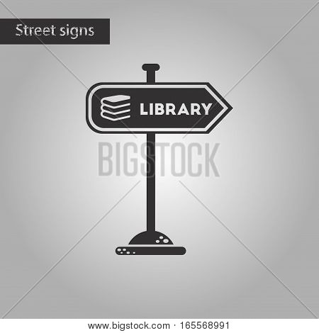 black and white style icon of sign library