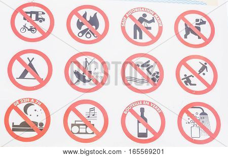 Lots of stuff is forbidden: camping, making fire, dogs, fishing, swimming, playing ball, showering, using glass bottles and more
