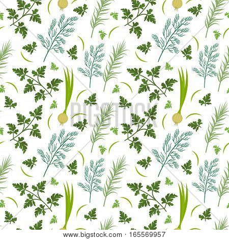 Herbs seamless pattern. Parsley, dill, razmarin endless background, texture. Vegetable backdrop Vector illustration