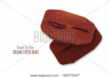 Coffee Beans Origami Isolated