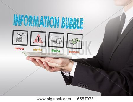 Information Bubble concept, young man holding a tablet computer.