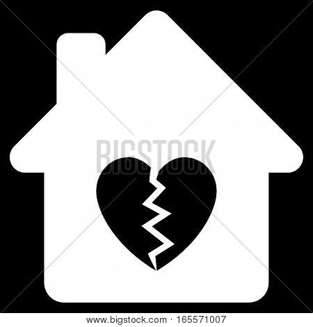 Divorce House Heart vector icon. Flat white symbol. Pictogram is isolated on a black background. Designed for web and software interfaces.