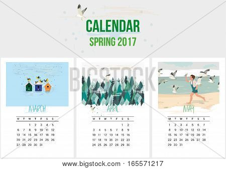 Colorful cute calendar of Spring 2017. March, April, May. Can be used for web, banner, poster, label and printable. Vector