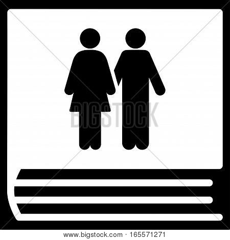 Family Album vector icon. Flat white symbol. Pictogram is isolated on a black background. Designed for web and software interfaces.
