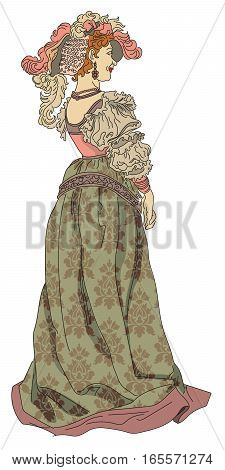 Vector beautiful woman from nineteenth century in retro style