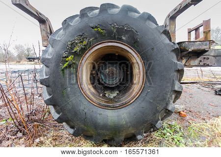 A damaged track tire (lorry or trailer tyre)