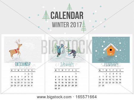 Colorful cute calendar of Winter 2017. December, January, February. Can be used for web, banner, poster, label and printable. Vector