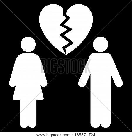 Family Divorce vector icon. Flat white symbol. Pictogram is isolated on a black background. Designed for web and software interfaces.