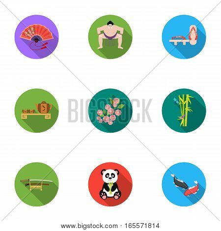 Japan set icons in flat style. Big collection of Japan vector symbol stock