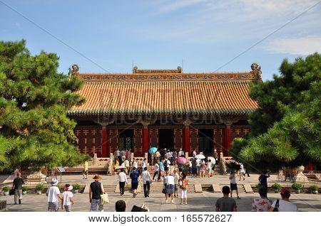 SHENYANG, CHINA - JUL. 26, 2012: Shenyang Imperial Palace (Mukden Palace) Chongzheng Hall, Shenyang, Liaoning Province, China. Shenyang Imperial Palace is UNESCO world heritage site.