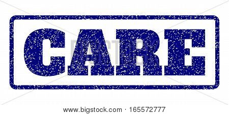 Navy Blue rubber seal stamp with Care text. Vector tag inside rounded rectangular shape. Grunge design and dust texture for watermark labels. Horisontal emblem on a white background.