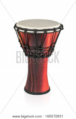 Ethnic African instrument - handmade drum isolated on white background